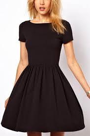 black pleated short sleeve casual dress casual dresses women