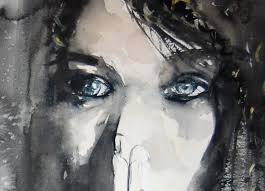 dark woman with blue eyes watercolor painting print 90 00 via