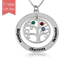 birthstone necklace sterling silver family tree birthstone necklace