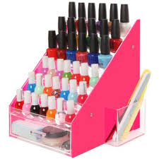 buy pink u0026 clear 36 bottles acrylic nail polish rack organizer
