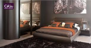 chambre haut de gamme lit galbé avec éclairage dela marque celio modèle palace mobilier
