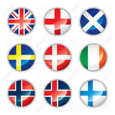 Europe Flags Glossy Button Flags Europe Two Royalty Free Cliparts Vectors