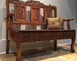 vintage storage bench etsy