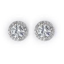 studded earrings halo stud earrings rhodium plated sterling silver diamond earings