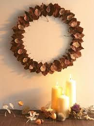 how to make a halloween wreath make a dried leaf christmas wreath hgtv