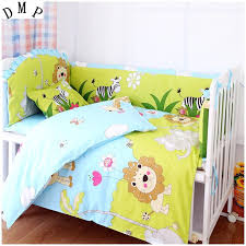 promotion 7pcs lion bedclothes for baby cribs and cots baby boy