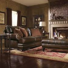 Leather Living Room Decorating Ideas by Brown Leather Sofa Set For Living Room With Dark Hardwood Floors