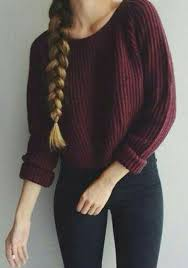 pullover sweater wine plain oversized knit sleeve cotton pullover