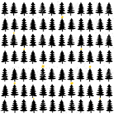 black white yellow christmas trees in forrest winter holidays