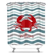 Shower Curtain Nautical Crab Shower Curtain Waves Shower Curtain Nautical Shower