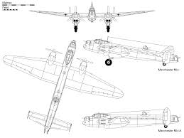 avro manchester side views of the mk1 with three fins and the