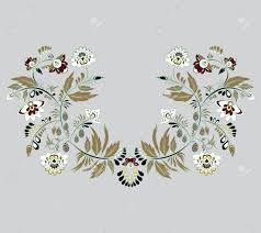 leaf pattern necklace stock vector flowers and leaf ornament oriental or russian pattern