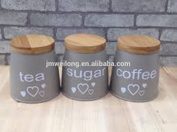 set of 3 metal food storage canister jar kitchen containers with