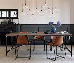 beautiful pendants over the dining table in different colors
