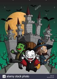 illustration of kids in halloween flying against castle