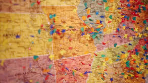 map us hd wall map of united states of america with many pins stock footage