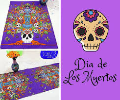Dia de Muertos Decorations Halloween Table Runner Day of the