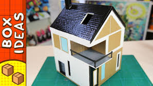 diy cardboard house scandinavian craft ideas for kids on box