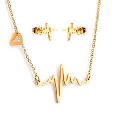 pendant necklace set images Newyork army gold tone stainless steel lifeline pendant necklace jpg