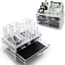 3 layers clear cosmetic drawers makeup jewelry storage display