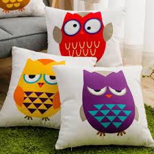 Canvas Decorative Pillows Printed Owl Cushions Decorative Cushion