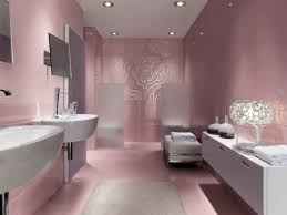 pink and grey bathroom together with wall mounted white ceramic