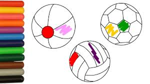 coloring balls pages socer volleyball beach ball with colored