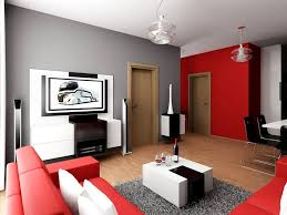 living room combination of red color sofa and grey wall for