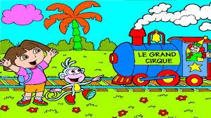 dora boots clown circus train dora coloring pages