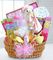 baby basket gift special stork delivery baby girl basket flowers plants and