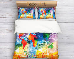 Poetic Wanderlust Bedding World Map Bedding Etsy