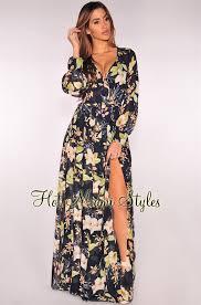 navy maxi dress blue floral print faux wrap belted maxi dress