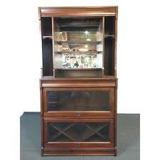 Pottery Barn Bar Cabinet Pottery Barn Laminate Walnut Glass U0026 Mirrored Lawyer Bar Hutch