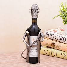 unique barware unique metal firefighter statue wine bottle stand decorative iron