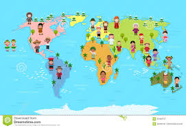 Kids World Map World Map And Kids Of Various Nationalities Stock Vector Image