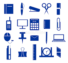 fourniture de bureau en ligne ensemble d icônes fournitures de bureau dans le bleu illustration