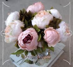 Peony Arrangement Peony Arrangement Faux Silk Flower Arrangement Clear Glass Vase