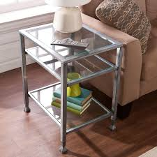 Glass Top Table Southern Enterprises Silver And Black Glass Top End Table Hd864624