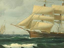 1880 marine painting or ship portrait a full rigged sailing vessel passing the castle the ship can be identified by signal flags other vessels
