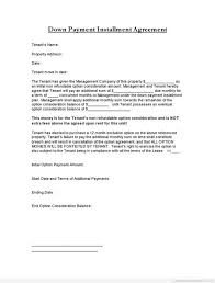 installment plan agreement template car down payment contract template templates resume examples