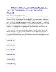 pdf suzuki gs1000 1977 1986 service repair manual 28 pages