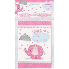 baby shower notes pink elephant baby shower thank you notes girl baby shower supplies