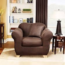 Sure Fit Club Chair Slipcovers Sure Fit Stretch Leather 2 Piece Chair Slipcover Brown Walmart Com