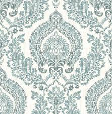 kensington damask blue peel and stick wallpaper traditional