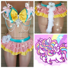 unicorn rave wear rainbow theme wear dance costume