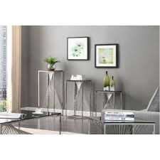 3 piece glass desk trinity modern 3 piece glass stainless steel end table set