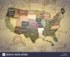 Map United States Of America by Antique Vintage Color Map United States Of America Stock Photo
