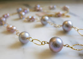 pink pearl gold necklace images Pink pearl necklace authentic pearl necklace wedding necklace jpg