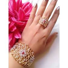 bracelet hand images Shop hand kada bracelet with ring for girls online jpg