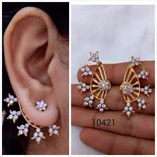 design of gold earrings ear tops designer ear cuff collections fashion wear price